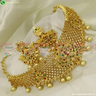 Stylish Choker Necklace For Saree Latest CZ Gold Plated Jewellery Designs Online NL23591