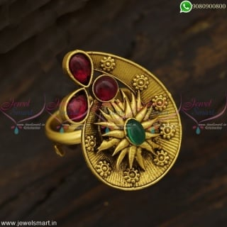 Stylish Design Fingerring Gold Model Antique Jewellery Kemp Stones Ornaments F22981