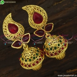 Stylish Mango Shape Jhumka Earrings Kemp Stones Original Online J23747