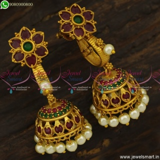 Stylish Ruby Emerald Floral Gold Jhumka Earrings Designs Artificial Jewellery J23812