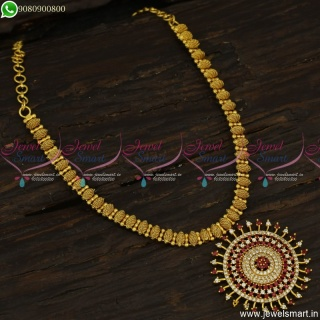Sun Locket Delicate Gold Plated Necklace Latest One Gram Jewellery South Indian NL23531