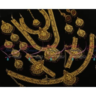 BR7551 Full Bridal Wedding Jewellery Set Traditional South Indian Mango Design