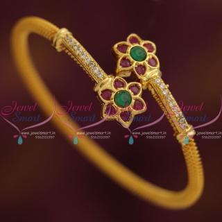 B7453 Ruby Emerald Gold Plated Twist Open Kada Bracelet Fashion Jewellery New