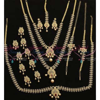 BR7707 Ruby White Latest Design Grand Full Bridal AD Imitation Jewellery Set Online