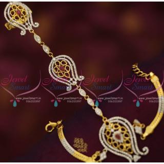F7631 Two Tone Hathful Design CZ Finger Ring Bracelet Linked Fashion Jewellery Shop Online