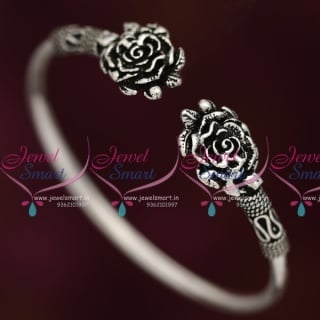 B7902 92.5 Original Silver Jewellery Oxidised Finish Floral Open Kada Buy Online
