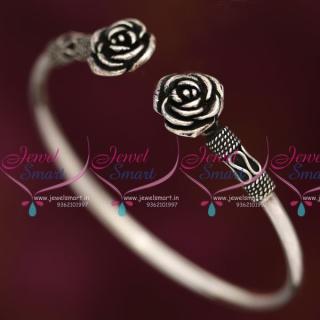 B7903 92.5 Original Silver Jewellery Oxidised Finish Floral Open Kada Buy Online