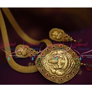 NL7895 Antique Gold Plated Nagas Temple Jewellery Flat Chain Pendant Online
