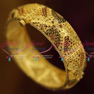 B2418 Gold Plated Floral Leaf Delicate Intricate Meena Handmade Screw Open Kada Bangles