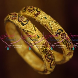 B1196 Screw Open Gold Plated Meena Color Delicate Bangles Gold Designs Fashion Jewelry