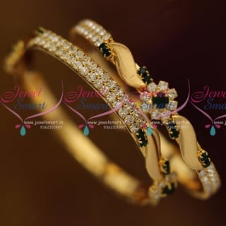 B8002 Small Size Girls Kids Baby Gold Plated Green White Stone Bangles Online