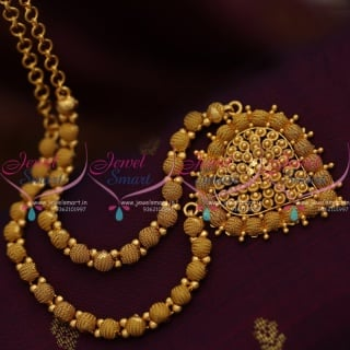 NL8437 Fancy Ball Emboss Design Chain Necklace Gold Plated Traditional Imitation