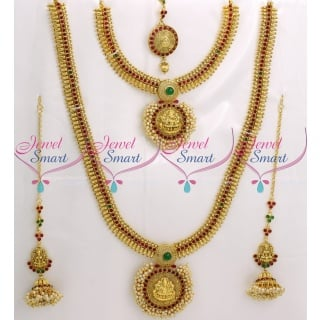 BR9041 Full Bridal Temple Jewellery Set Red Green Kemp Stones Traditional South Indian Collections