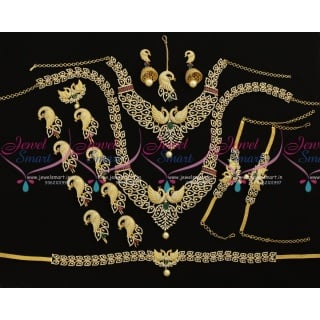 BR9100 Peacock Design Diamond Finish Full Bridal Jewellery Set New Collections