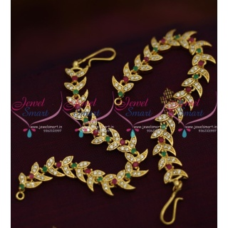 EC9212 AD Ruby Emerald White Stones Leaf Fancy Design Earchain Mattal Jewellery Online