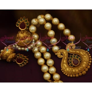 NL10424  Antique Matte Gold Beaded Jewellery Latest Real Look Design Collections Online