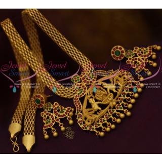 PS10322 Real Gold Finish Matte Rich Look Gajalakshmi Temple Jewellery Flat Chain Pendant Ruby Emerald Stones Online