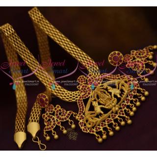 PS10323 Real Gold Finish Matte Rich Look Gajalakshmi Temple Jewellery Flat Chain Pendant Ruby Stones Online