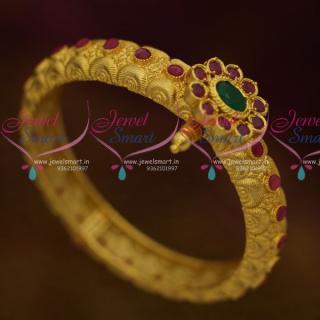 B10788 One Gram Intricate Handmade Nakshi Work Traditional Jewellery Screw Open Kada Bracelets Online