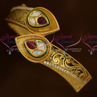 B10761 Kada Bracelet One Gram Gold Plated Premium Matte Pattern Finish Screw Open Jewellery Online
