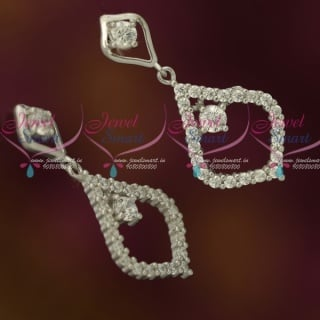 ER12133 Latest Silver 92.5 Jewellery CZ Sparkling Stones Fancy Ear Studs Drops Shop Online