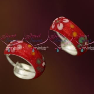 ER12106 Red Enamel Floral Painting Silver Jewellery Bali Earrings Shop Online Daily Wear Collections