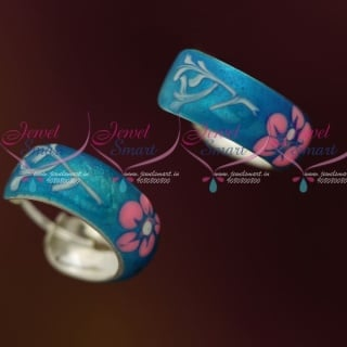 ER12110 Shiny Blue Enamel Floral Painting Silver Jewellery Bali Earrings Shop Online Daily Wear Collections