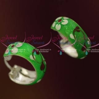 ER7333 92.5 Silver Jewellery Bali Earrings Green Enamel Meena Coated Designs