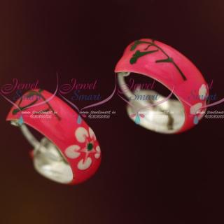 ER12113 Pink Enamel Painting Silver Jewellery Bali Earrings Shop Online Daily Wear Collections