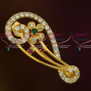 SP11926 Stylish Imitation AD Stones Fashion Jewellery Saree Pins Collection Online