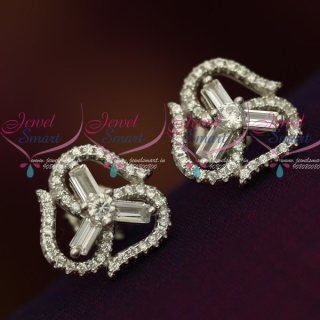 ER12101 Silver 92.5 Jewellery CZ High Quality Spakling stones Trendy Ear Studs Shop Online