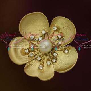 SP9192 Matte Light Cream Gold Saree Brooches Latest Finish Fashion Accessory Online