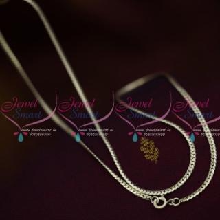 C12405 18 Inches 925 Pure Silver Fine Thin Quality Flexible Oxidised Finish Italian Daily Wear Chain