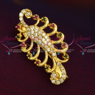 SP12504 New Imitation AD Stones Peacock Fashion Jewellery Saree Pins Collection Online