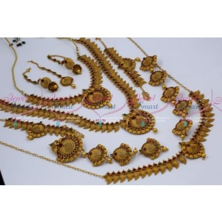 BR12603 Antique Bridal Matte Copper Tone Reddish South Indian Gold Finish Wedding Dulhan Jewellery Full Set Latest Collections