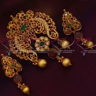 PS12761RG Ruby Emerald Pendant Set Hand Setting Stones Matte Gold Plated Shop Online