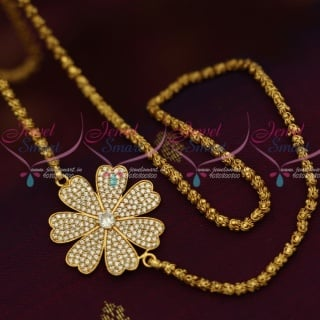 C12885W 3.5 MM Gold Plated Dhasavadar Chain 24 Inches White Mugappu South Indian Imitation Jewellery Designs Online