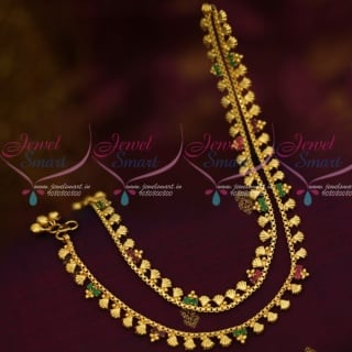 P13002 Ruby Emerald Shell Design Gold Plated Covering Anklets Jewellery Imitation Payal