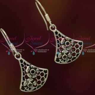 ER13204 92.5 Silver Oxidised Jewellery Floral Design Hook Hanging Earrings Shop Online Fancy