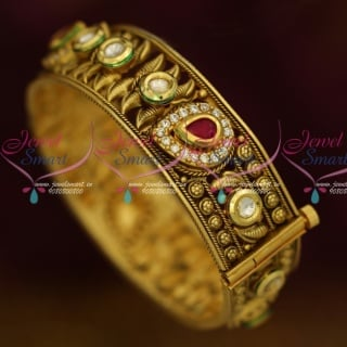 B13611 Single Piece Broad Screw Open Kundan AD Bangles Latest Antique Jewelry Online