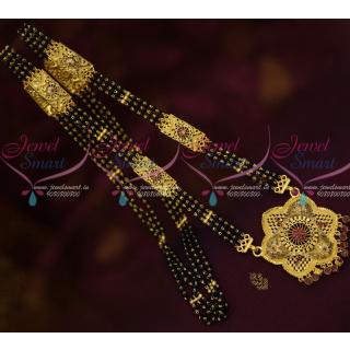 M13474 AD Stones One Gram Forming Gold Jewelry Long Mangalsutra NallaPusalu 3 Line Mala