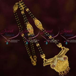 M13475 AD Stones 16 Inches Long 2 Line Mangalsutra Forming Gold Nalla Pusalu Mala Online