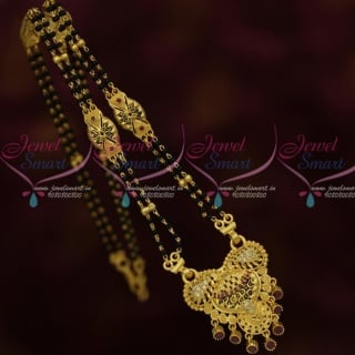 M13476 Ruby Stones 15 Inches Long 2 Line Mangalsutra Forming Gold Nalla Pusalu Mala Online