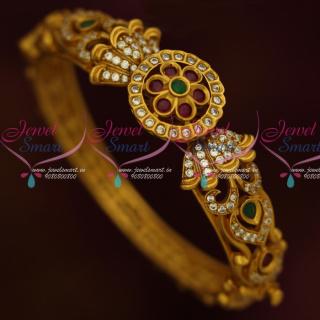 B13846 Traditional Design Semi Precious Stones Jewelry Clip Open Kada Bracelets Antique Matte Finish