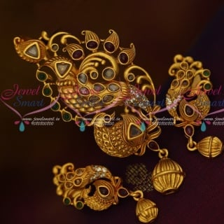 PS13859 Stylish Kemp Peacock Gold Plated Traditional Jewelry Real Look Pendant Earrings Set