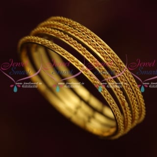 B13891 Thin Spiral Twisted Design Gold Plated Kids Jewelry Daily Wear Bangles Shop Online
