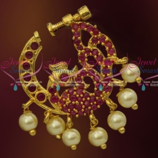 N13679R Semi Precious Stones Gold Plated Ruby Pearls Nose Rings Screw Lock