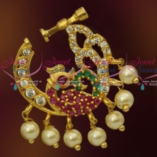 N13679M Semi Precious Stones Gold Plated Multi Stones Pearls Nose Rings Screw Lock