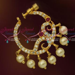 N13671RW American Diamond Ruby White Stones Screw Lock Wear Nose Pins Ring Shop Online