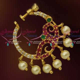 N13671M American Diamond Multi Colour Stones Screw Lock Wear Nose Pins Ring Shop Online